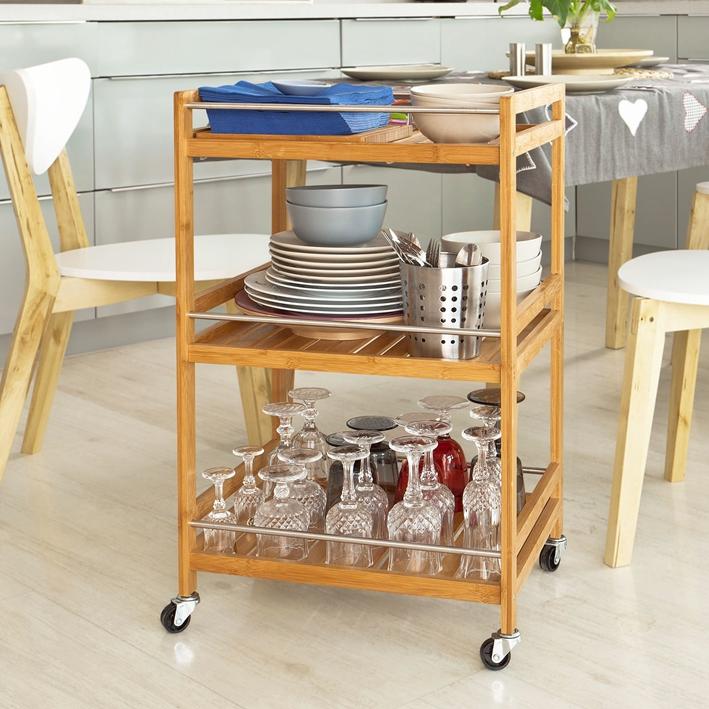 SoBuy® Servierwagen,Küchenwagen,Badregal,Rollwagen aus Bambus,FKW11 ...