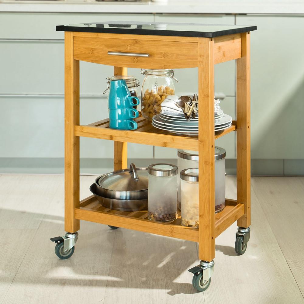SoBuy® Servierwagen,Küchenwagen mit Granitarbeitsplatte, Küchenregal ...