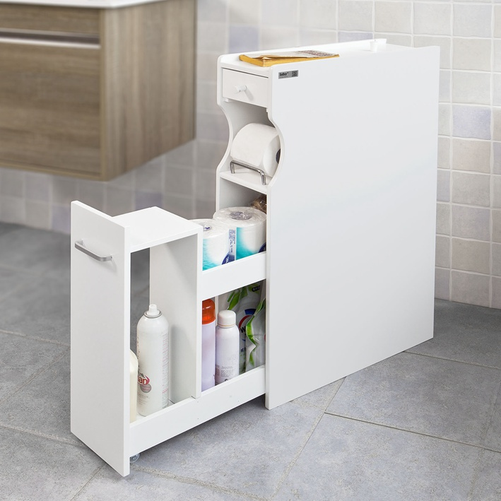 SoBuy® White Wood Bathroom Cabinet Toilet Paper Storage Handy