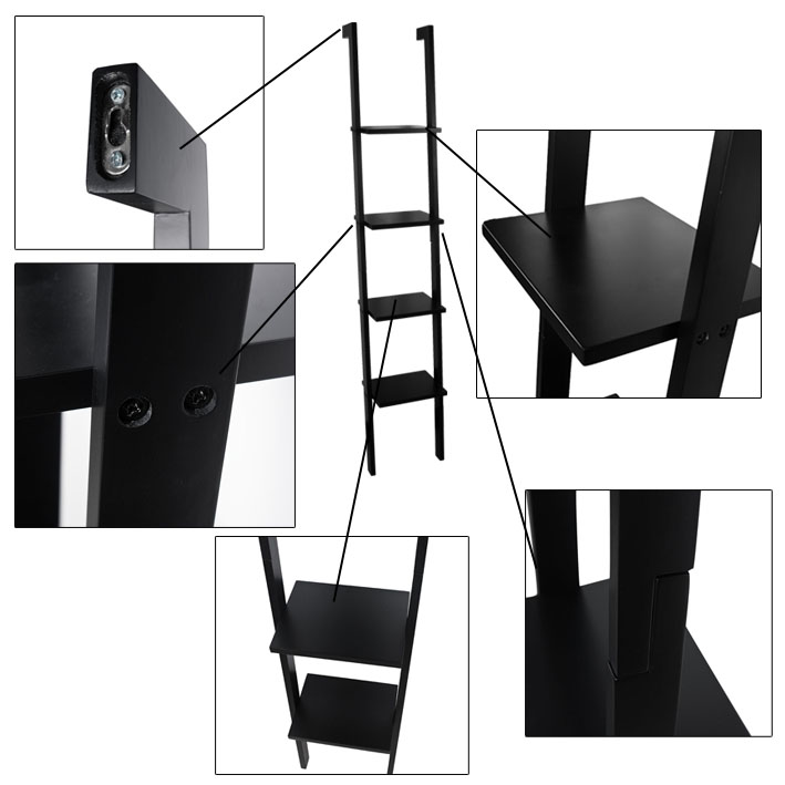 sobuy modernes leiterregal mit 4 b den standregal wandregal schwarz frg15 sch ebay. Black Bedroom Furniture Sets. Home Design Ideas