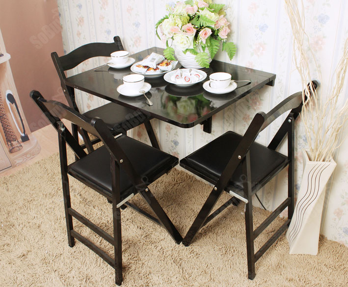 Sobuy table d 39 enfant table de cuisine table murale pliable bois fwt01 sch fr ebay - Table de cuisine pliable ...