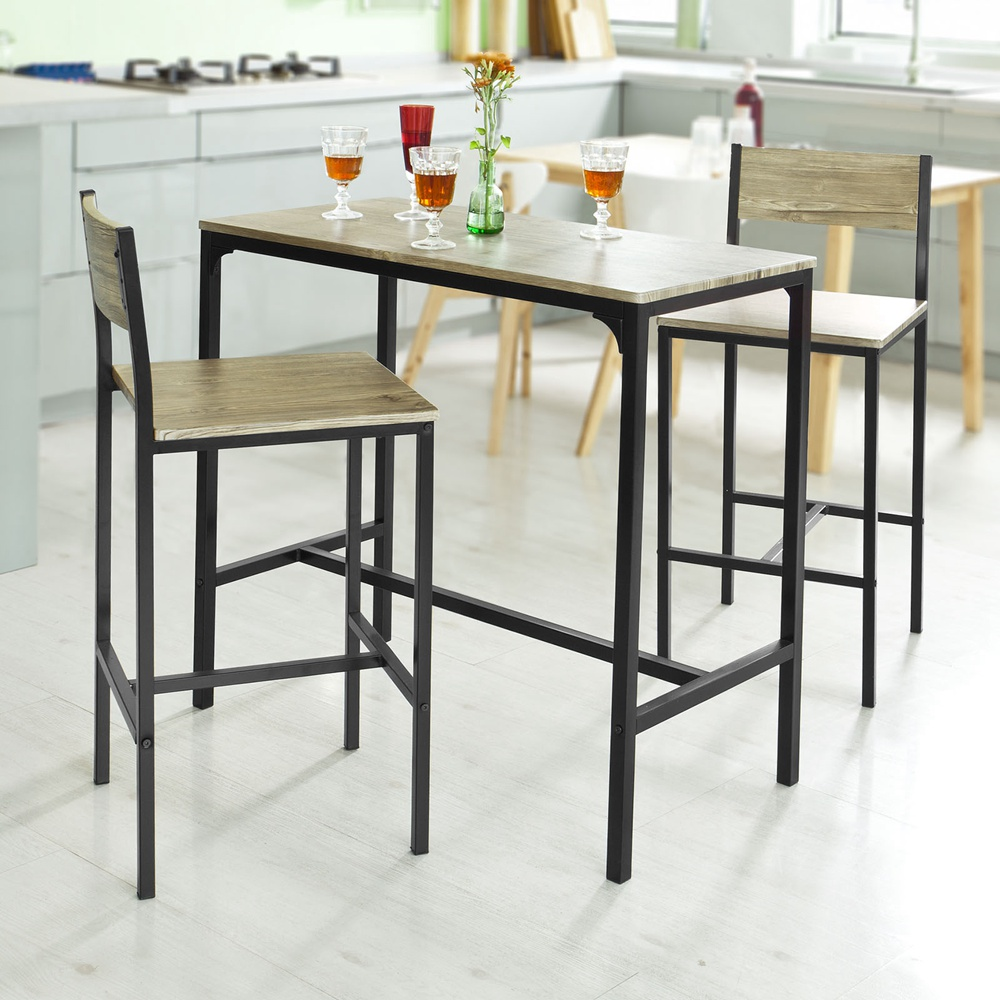 SoBuy® Kitchen Dining Breakfast Bar Table And 2 High